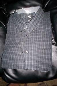 NWT CALVIN KLEIN MENS LONG SLEEVE  DRESS SHIRT REGULAR FIT-BLACK/GRAY PLAID-LG