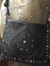 New Free People Old Trend Lone Road Black Leather Crossbody Handbag STUDS $298
