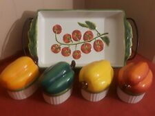 Certified International Judy Philipps Ceramic Casserole Dish & 4 Pepper Dishes