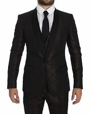 NEW $3600 DOLCE & GABBANA Suit Tuxedo Brown Black Shiny 3 Piece Slim EU46/US36/S