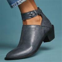 UK Women Ladies Mid Block Heel Ankle Boots Pointy Toe Chunky Booties Buckle Shoe