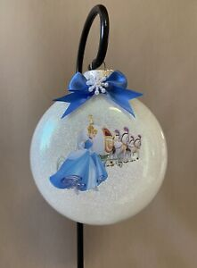 "Handmade Disney Cinderella 4"" Glass Disk Christmas Ornament~Made In The USA, New"