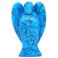 "Angel Figurine Nice Blue Turquoise Carved Healing Reiki Statue Home Decor 3"""