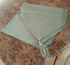 "NEW ♡  BEAUTIFUL LIGHT GREEN TABLE RUNNER WITH TASSELS ♡  12"" X 72"""