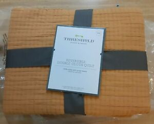 """Threshold Reversible Double Cloth Quilt King Sized Mustard Color 104"""" x 92"""""""