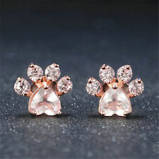 Fashion Jewelry Shiny Purple Crystal Stud Earrings  Cat Dog Paw Earring Piercing