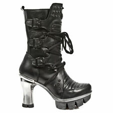 New Rock 100% Leather Block Heel Boots for Women
