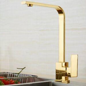 Gold Modern Kitchen Mixer Tap Faucet Basin Sink Swivel spout 360` (198)