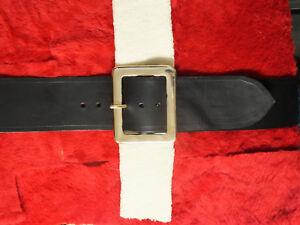 "3 1/2"" Black Leather Santa Claus Belt Solid Brass Buckle"