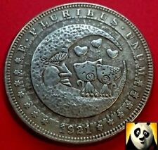 1921 US Silver $1 Morgan Dollar Hobo Hello Kitty & Moon Carved Fantasy Coin