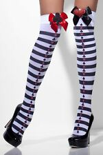 Fever Opaque Hold-Ups Black & White Striped, Heart & Spade Card Print UK 6 - 14