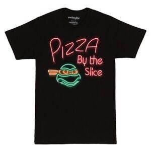 Adult Black TMNT Teenage Mutant Ninja Turtles Pizza Neon By Slice T-Shirt Tee
