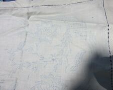 Belgium Linen Tablecloth Hand Drawn Thread Stamp Floral Embroidery Vintage