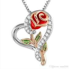 Love heart Rose with zirconia Pendant Couple Necklace Valentine Day