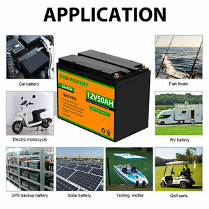 50Ah 600Wh 12V Battery Lithium Iron Phosphate LiFePO4 Battery for Motor RV House