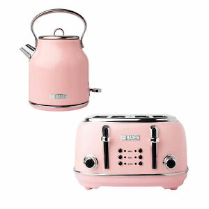 Haden Heritage 1.7 Liter Stainless Steel Body Electric Kettle with Toaster, Pink