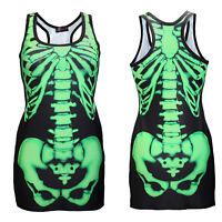 Black & Green X-Ray Skeleton Ribcage Bones Long Tank Top Goth Punk Halloween
