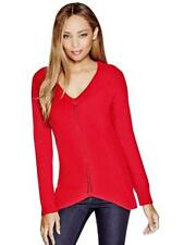 GUESS Sweater Women's Thick V-Neck Stretch Knit Pullover Sweater Tunic S Red NWT