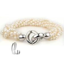 AU SELLER Lovely 5 Strand Genuine White Pearls Bracelet b038