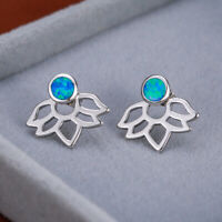 Cute Lotus Flower Blue Fire Opal Stud Earrings 925 Silver Women Wedding Jewelry