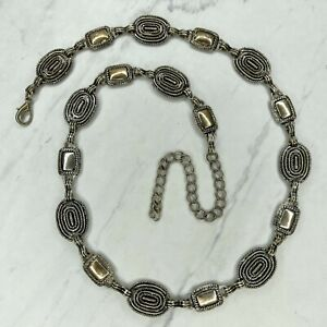 Silver Tone Oval Rectangle Belly Body Chain Link Belt Size Medium M Large L