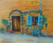 French Alleyway  8 x 10 print on linen card stock of original oil   painting