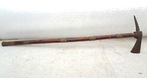 19c Antique Rare Islamic Ottoman Indo Persian Iron Battle Axe Wood Brass Stick