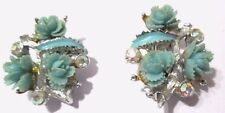 CLIP ON EARRINGS AB RHINESTONE GREEN CARVED FLOWERS ROSES CELLULOID VINTAGE