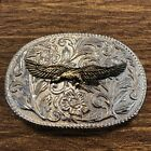 Silver and Gold Oval Scroll Work 3D Eagle Belt Buckle