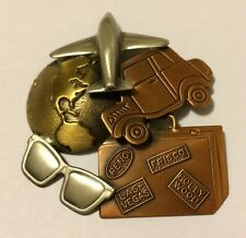 TRAVELING AIRPLANE CARS GLOBE SUITCASE WITH TRAVEL PEWTER COPPER BRASS BROOCH