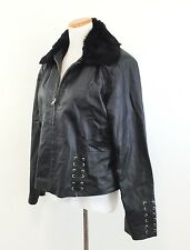 MONROE & MAIN Women's LEATHER JACKET Removable Fur Collar Leather Lacing Size XL