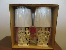 Pair of Vintage Victorian Table Lamps - Dresser Lamps - IOB - With shade - JAPAN