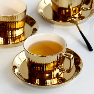 Gold Plated Tea/Coffee Cup w/aucer Set Ceramic Espresso Cup Office -white