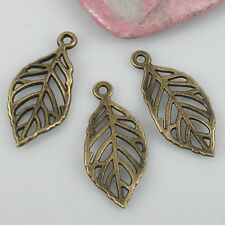 20pcs antiqued bronze color hollow leaf charms EF0548