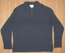 Mens XL Eddie Bauer Very Dark Grey Wool Sweater 3 Button Placket