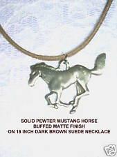 MATTE SATIN FINISH WILD RUNNING MUSTANG HORSE SILVER PEWTER PENDANT NECKLACE