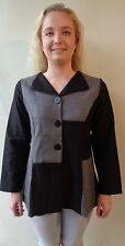 New Black & grey button up top EVERSUN size 12 NWT long sleeves