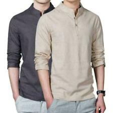 Chinese Men Stand Collar Shirt Linen Casual Style Kung Fu Top Breathable top@day