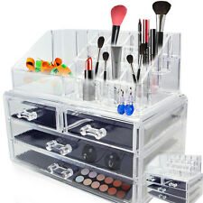 Acrylic Jewelry Makeup Cosmetic Organizer Case Display Holder Drawer Box Storage