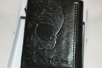 Robert Graham RFID Black Pebble Genuine Leather Skull Trifold Wallet NIB $88