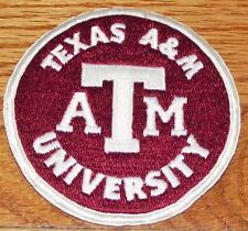 """NEW LARGE Texas A&M University Aggies Round Embroidered Iron-On Patch 4"""" *R3"""