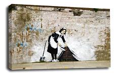 Banksy a Muro Arte Foto Stampa Graffiti Maid Tappeto spazzare Peace Love
