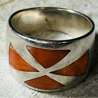 Taxco 950 Silver - Vintage Coral Inlay Band Ring Size 7