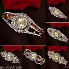 New Luxury Women's Crystal Dress Fashion Bracelet Quartz Analog Wrist Watch Gold
