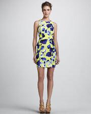 Milly of New York Floral Peplum Sheath Dress Yellow Spring Summer Sleeveless - 8