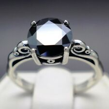 2.37cts 8.61mm Real Natural Black Diamond Ring AAA Grade & $1385 Value...