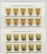 Chess: Poland Sc.  2043-4 inscription blocks of 10 MNH //ap2