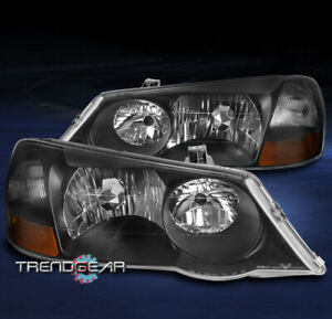 FOR 2002-2003 ACURA TL (FACTORY HID) REPLACEMENT HEADLIGHTS HEADLAMP LAMP BLACK