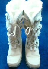 Nine West Girls Snow Boots Tall Gray Tan Faux Suede and Fur Lined Lace Up Size 4
