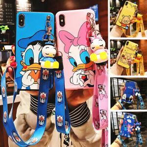 Cute For iPhone 11 Pro Xs Max X Disney Stitch Winnie Daisy Straps Toy Stand Case